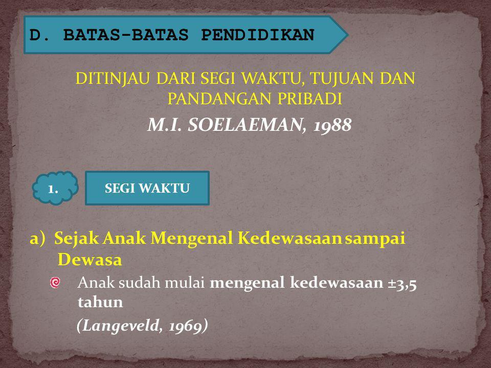 D.BATAS-BATAS PENDIDIKAN DITINJAU DARI SEGI WAKTU, TUJUAN DAN PANDANGAN PRIBADI M.I.