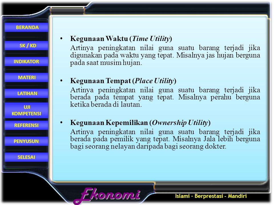 Islami – Berprestasi - Mandiri REFERENSI LATIHAN MATERI PENYUSUN INDIKATOR SK / KD UJI KOMPETENSI BERANDA SELESAI Kegunaan Waktu (Time Utility) Artiny