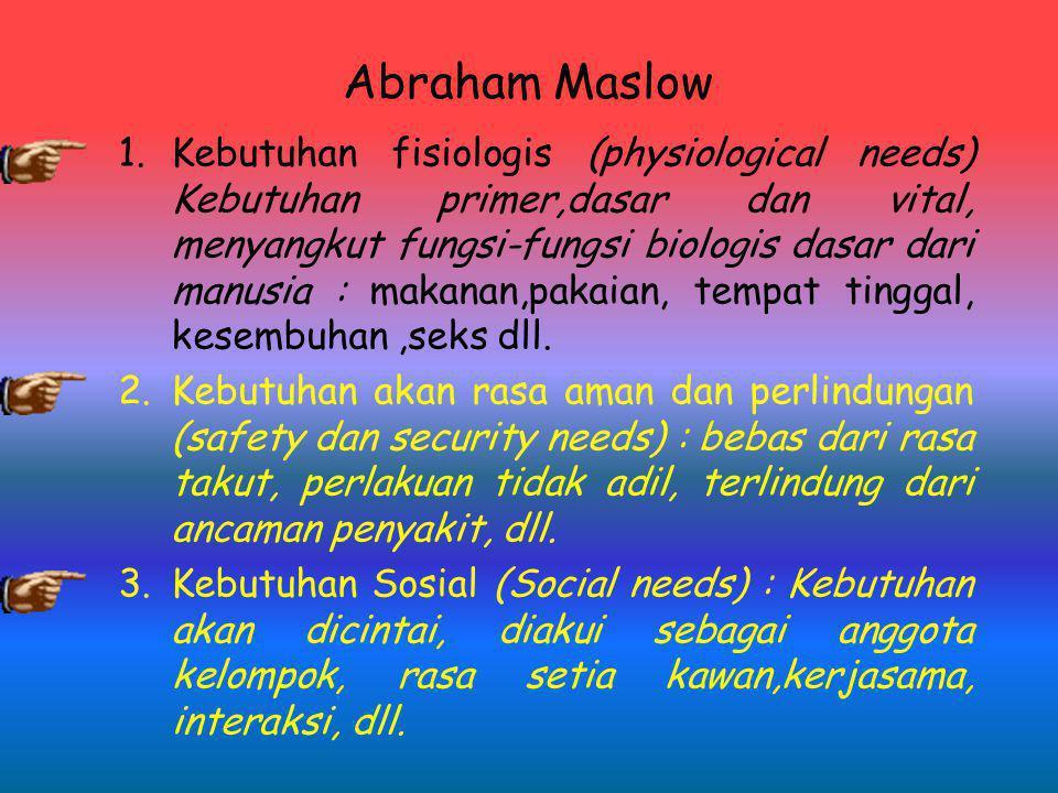 Abraham Maslow 1.Kebutuhan fisiologis (physiological needs) Kebutuhan primer,dasar dan vital, menyangkut fungsi-fungsi biologis dasar dari manusia : makanan,pakaian, tempat tinggal, kesembuhan,seks dll.
