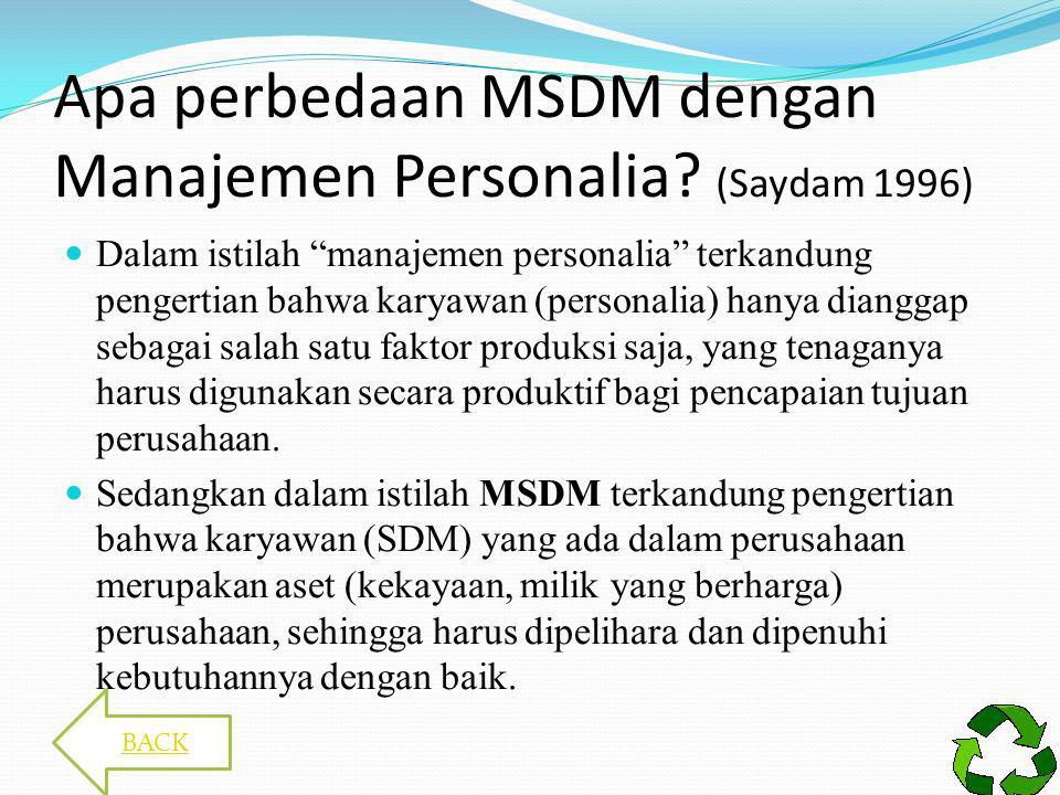 PERANAN MSDM Menetapkan jumlah, kualitas, dan penempatan tenaga kerja yang efektif sesuai dengan kebutuhan perusahaan Menetapkan penarikan, seleksi, dan penempatan karyawan Menetapkan program kesejahteraan, pengembangan, promosi, dan pemberhentian.