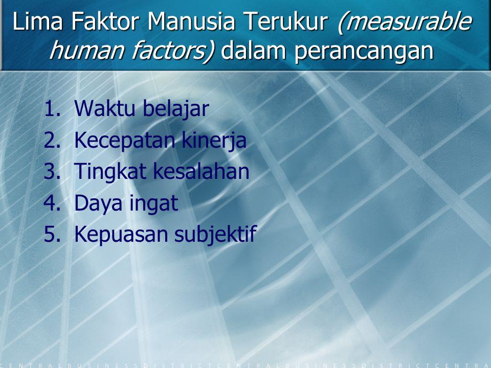 Lima Faktor Manusia Terukur (measurable human factors) dalam perancangan 1. 1.Waktu belajar 2. 2.Kecepatan kinerja 3. 3.Tingkat kesalahan 4. 4.Daya in