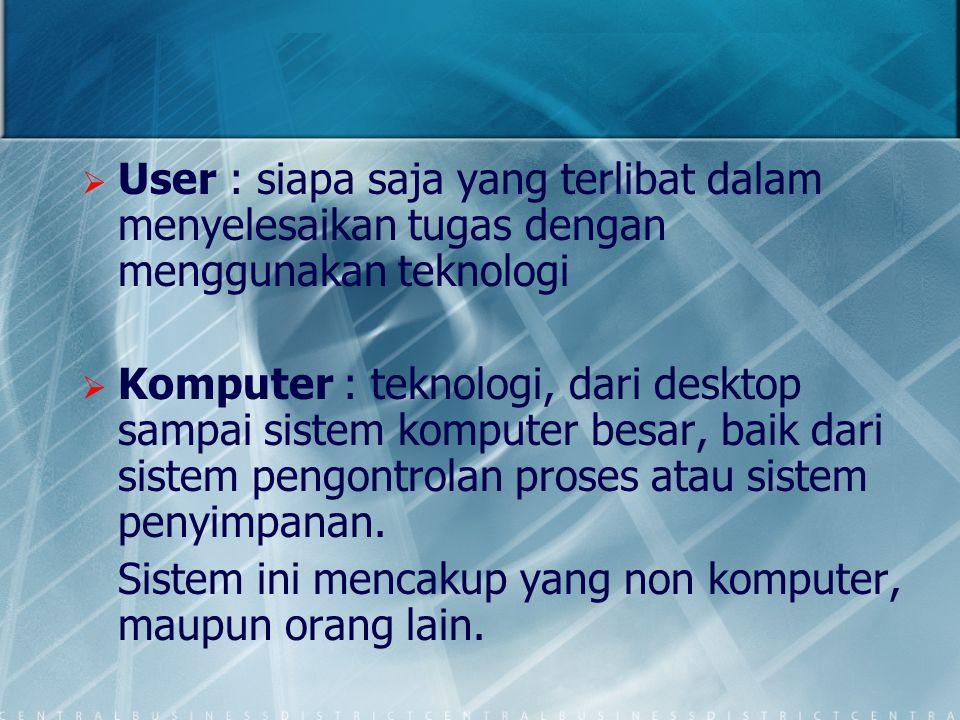   User : siapa saja yang terlibat dalam menyelesaikan tugas dengan menggunakan teknologi   Komputer : teknologi, dari desktop sampai sistem komput
