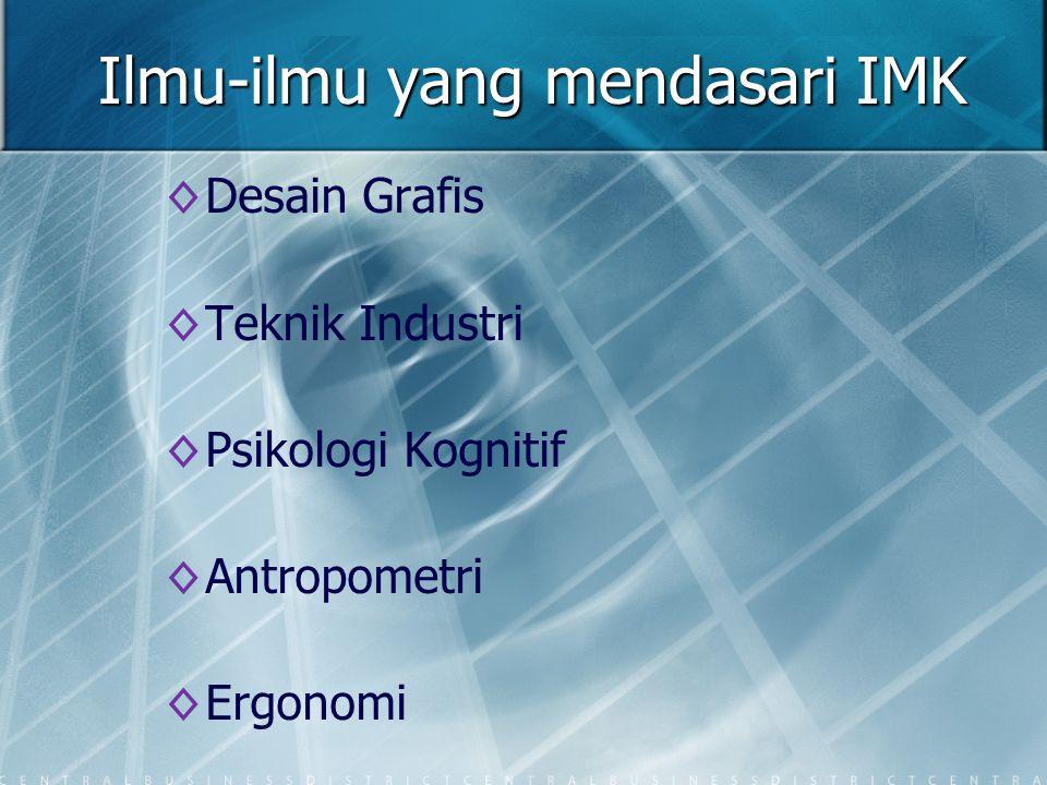 Ilmu-ilmu yang mendasari IMK ◊ ◊Desain Grafis ◊ ◊Teknik Industri ◊ ◊Psikologi Kognitif ◊ ◊Antropometri ◊ ◊Ergonomi