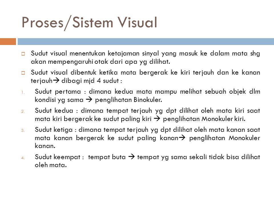 Proses/Sistem Visual  Sudut visual menentukan ketajaman sinyal yang masuk ke dalam mata shg akan mempengaruhi otak dari apa yg dilihat.  Sudut visua