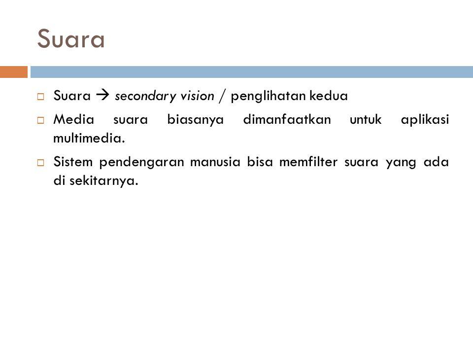 Suara  Suara  secondary vision / penglihatan kedua  Media suara biasanya dimanfaatkan untuk aplikasi multimedia.  Sistem pendengaran manusia bisa