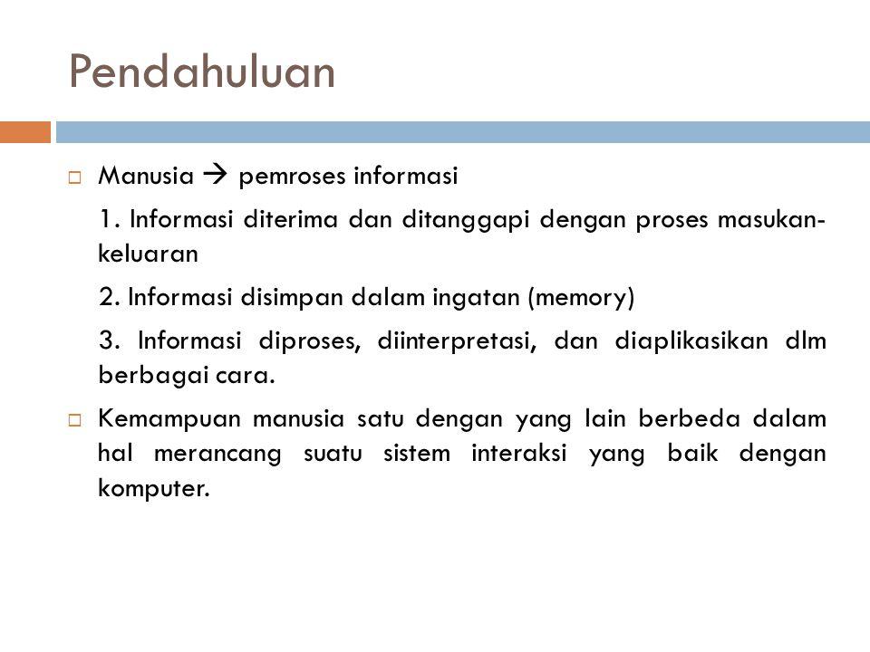 Pendahuluan  Manusia  pemroses informasi 1. Informasi diterima dan ditanggapi dengan proses masukan- keluaran 2. Informasi disimpan dalam ingatan (m