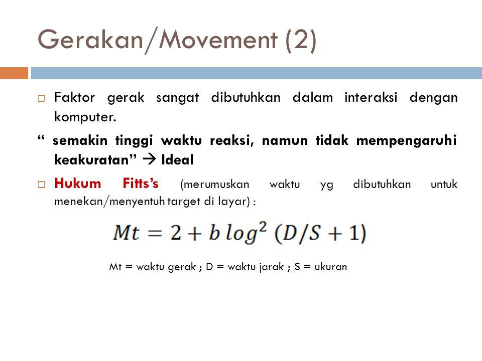 """Gerakan/Movement (2)  Faktor gerak sangat dibutuhkan dalam interaksi dengan komputer. """" semakin tinggi waktu reaksi, namun tidak mempengaruhi keakura"""