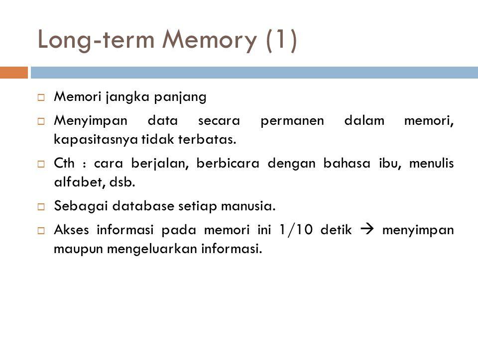 Long-term Memory (1)  Memori jangka panjang  Menyimpan data secara permanen dalam memori, kapasitasnya tidak terbatas.  Cth : cara berjalan, berbic