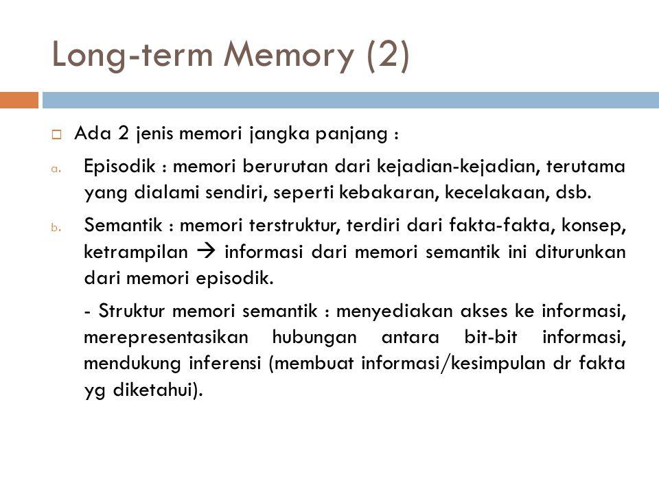 Long-term Memory (2)  Ada 2 jenis memori jangka panjang : a. Episodik : memori berurutan dari kejadian-kejadian, terutama yang dialami sendiri, seper