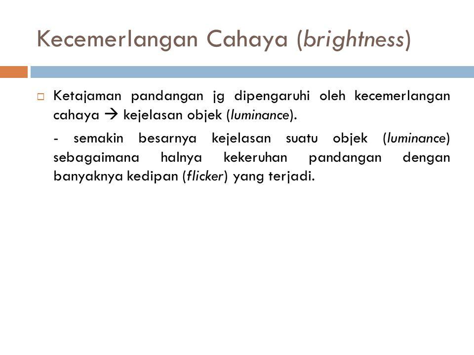 Kecemerlangan Cahaya (brightness)  Ketajaman pandangan jg dipengaruhi oleh kecemerlangan cahaya  kejelasan objek (luminance). - semakin besarnya kej