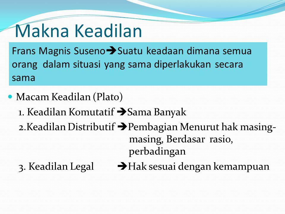 Makna Keadilan Frans Magnis Suseno  Suatu keadaan dimana semua orang dalam situasi yang sama diperlakukan secara sama Macam Keadilan (Plato) 1.