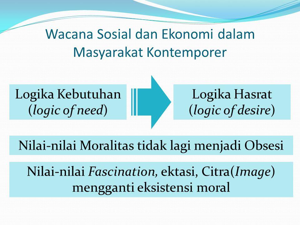 Wacana Sosial dan Ekonomi dalam Masyarakat Kontemporer Logika Kebutuhan (logic of need) Logika Hasrat (logic of desire) Nilai-nilai Moralitas tidak la