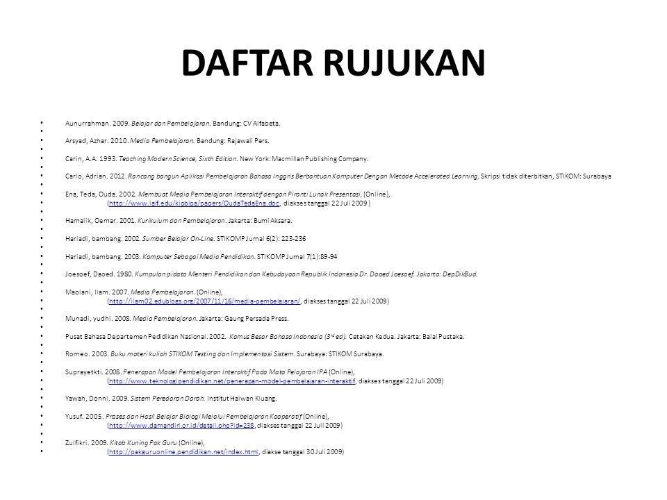 DAFTAR RUJUKAN Aunurrahman. 2009. Belajar dan Pembelajaran. Bandung: CV Alfabeta. Arsyad, Azhar. 2010. Media Pembelajaran. Bandung: Rajawali Pers. Car