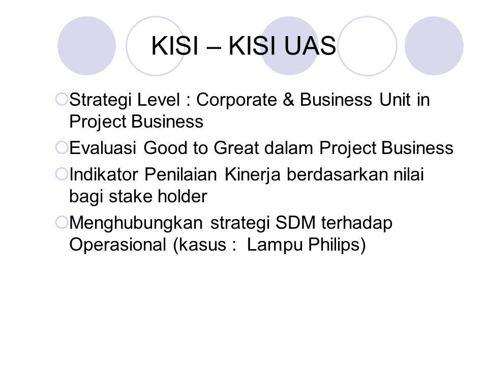 KISI – KISI UAS  Strategi Level : Corporate & Business Unit in Project Business  Evaluasi Good to Great dalam Project Business  Indikator Penilaian