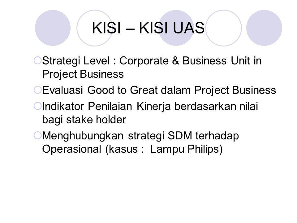 KISI – KISI UAS  Strategi Level : Corporate & Business Unit in Project Business  Evaluasi Good to Great dalam Project Business  Indikator Penilaian Kinerja berdasarkan nilai bagi stake holder  Menghubungkan strategi SDM terhadap Operasional (kasus : Lampu Philips)