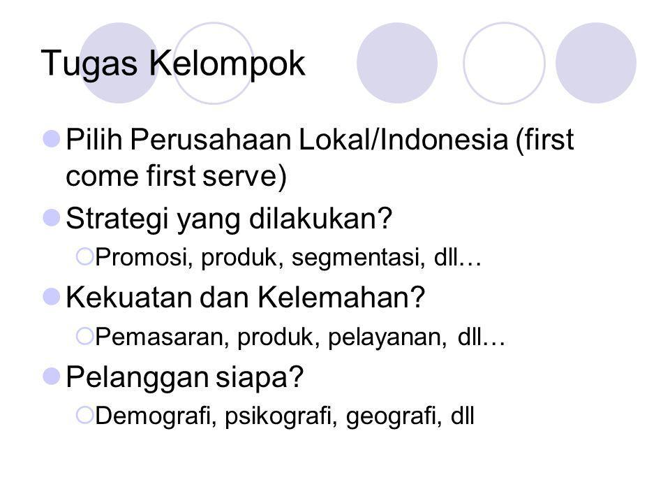 Tugas Kelompok Pilih Perusahaan Lokal/Indonesia (first come first serve) Strategi yang dilakukan?  Promosi, produk, segmentasi, dll… Kekuatan dan Kel