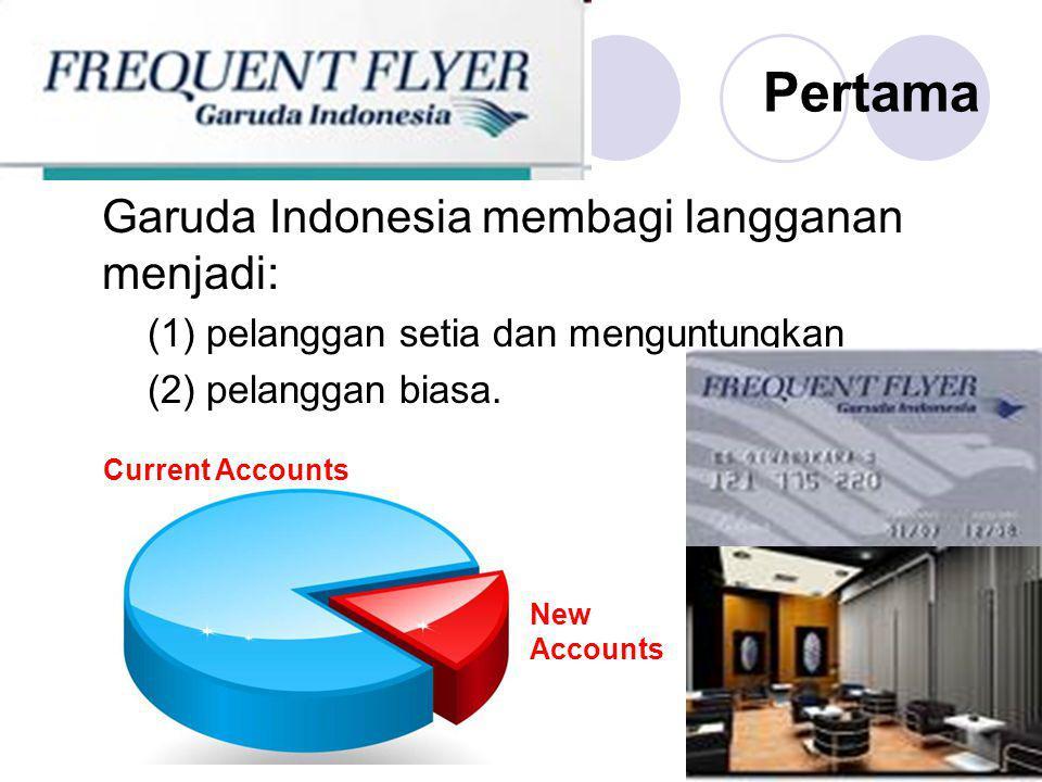 Pertama Garuda Indonesia membagi langganan menjadi: (1) pelanggan setia dan menguntungkan (2) pelanggan biasa. New Accounts Current Accounts
