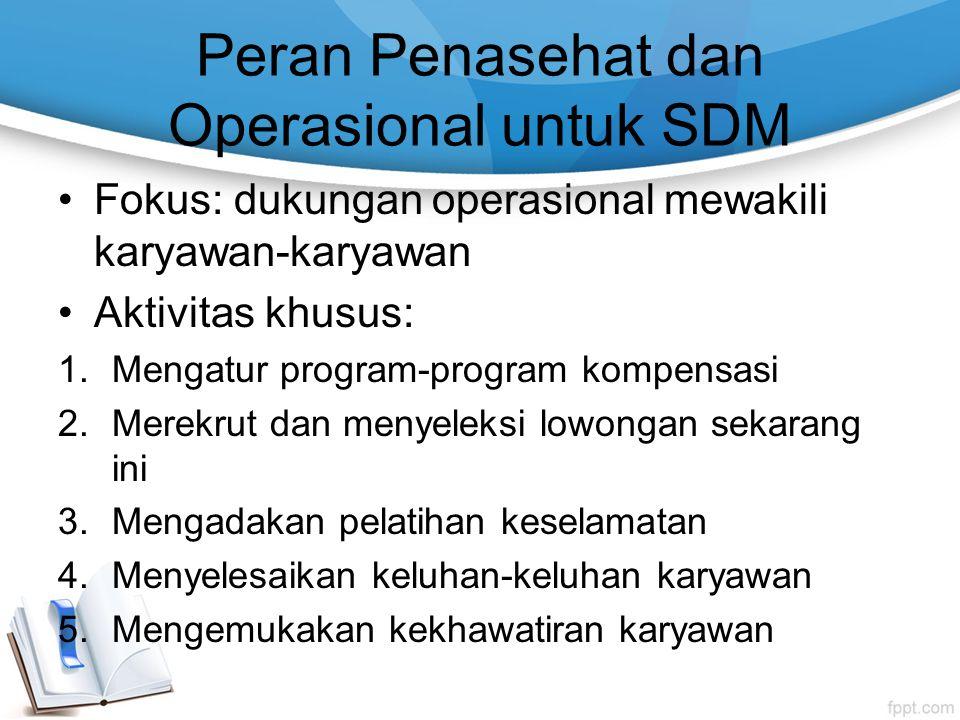 Peran Penasehat dan Operasional untuk SDM Fokus: dukungan operasional mewakili karyawan-karyawan Aktivitas khusus: 1.Mengatur program-program kompensa