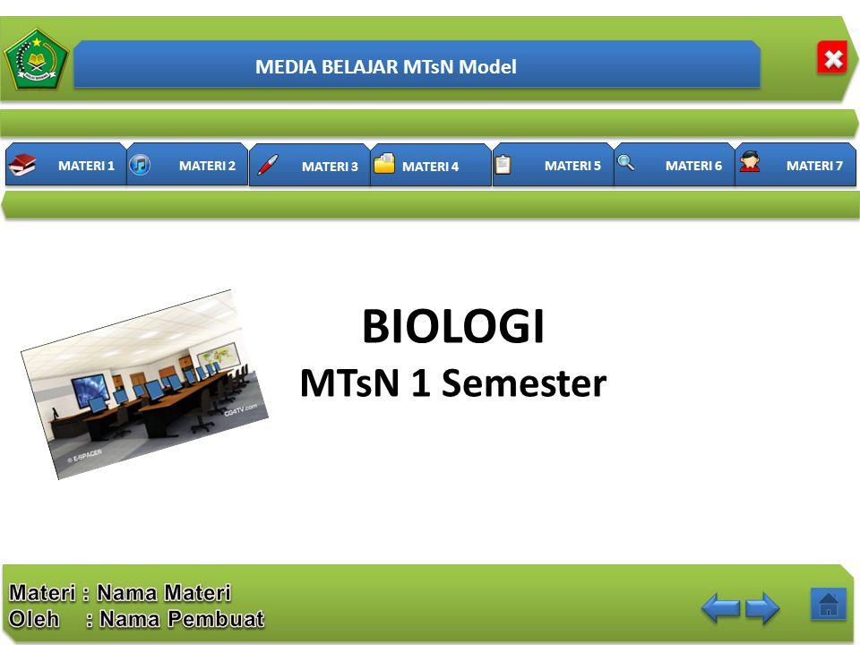 MATERI 3 MATERI 4 MATERI 1 MATERI 2 MATERI 5 MATERI 6 MATERI 7 BIOLOGI MTsN 1 Semester MEDIA BELAJAR MTsN Model