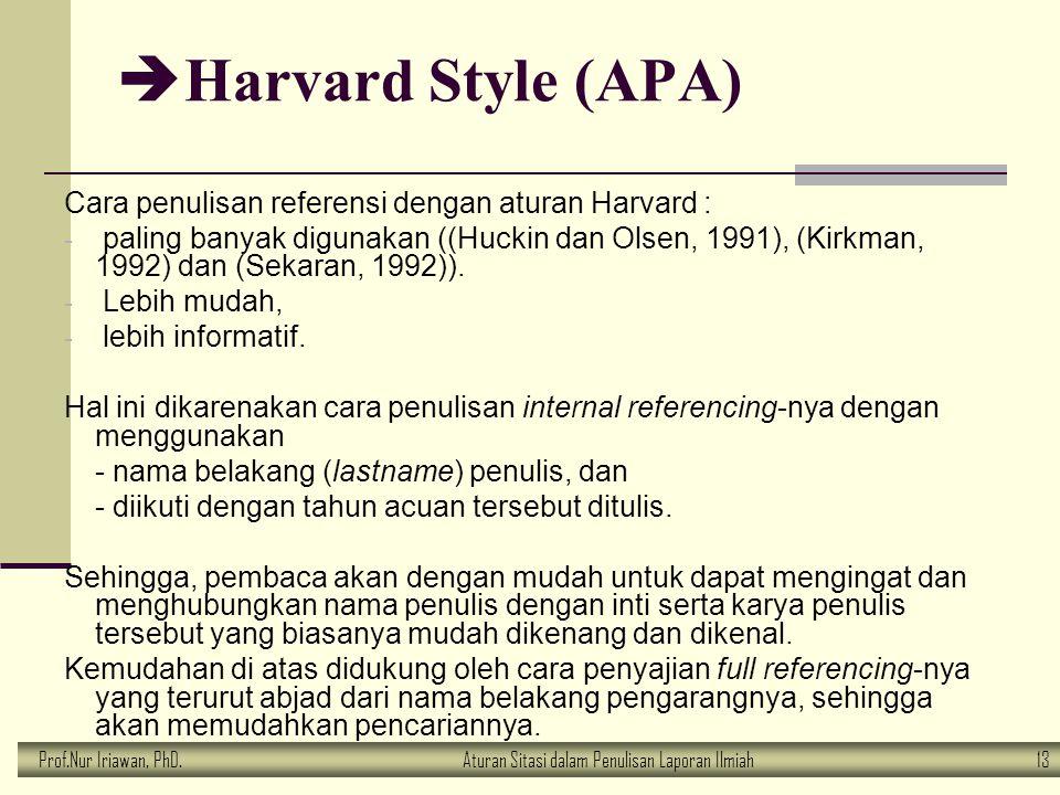 Prof.Nur Iriawan, PhD.Aturan Sitasi dalam Penulisan Laporan Ilmiah 13  Harvard Style (APA) Cara penulisan referensi dengan aturan Harvard : - paling