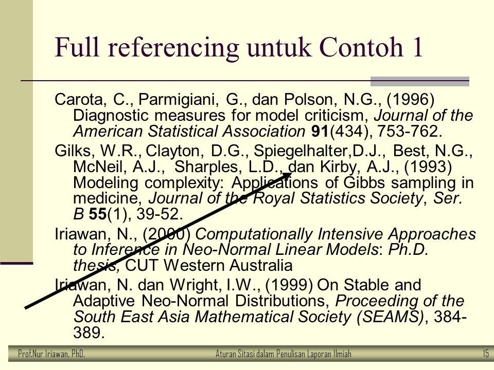 Prof.Nur Iriawan, PhD.Aturan Sitasi dalam Penulisan Laporan Ilmiah 15 Full referencing untuk Contoh 1 Carota, C., Parmigiani, G., dan Polson, N.G., (1