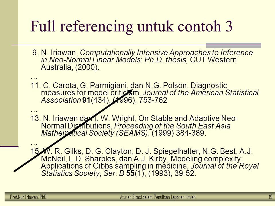 Prof.Nur Iriawan, PhD.Aturan Sitasi dalam Penulisan Laporan Ilmiah 19 Full referencing untuk contoh 3 9. N. Iriawan, Computationally Intensive Approac