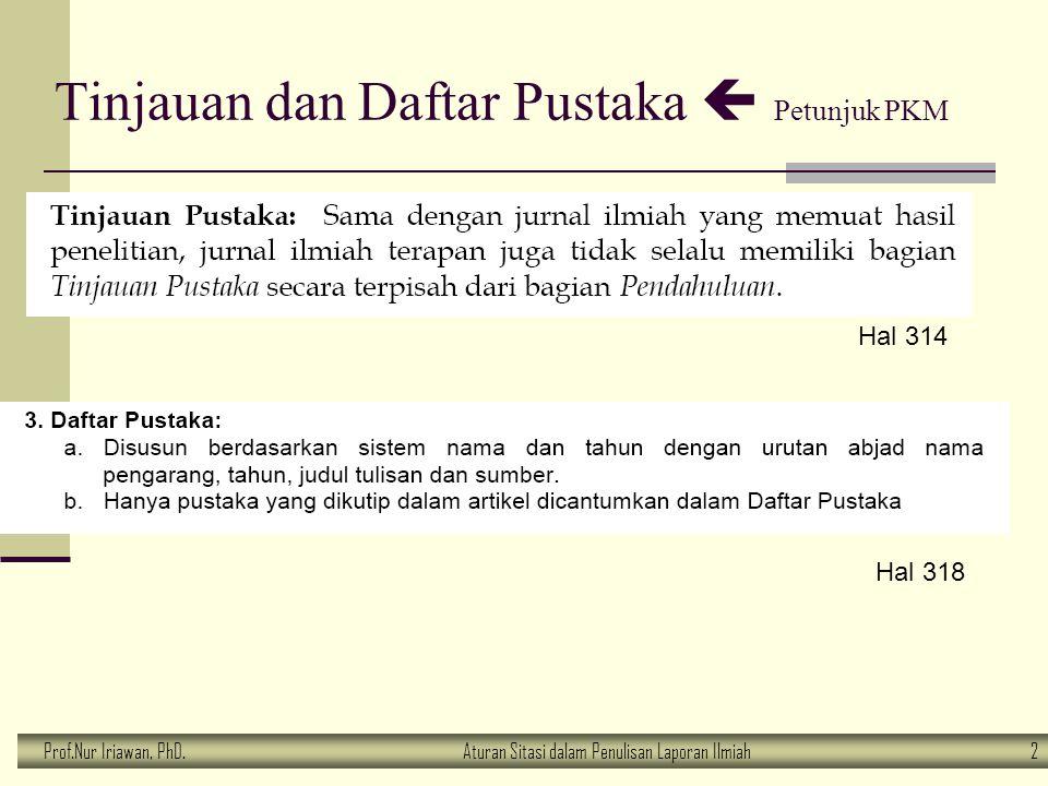 Prof.Nur Iriawan, PhD.Aturan Sitasi dalam Penulisan Laporan Ilmiah 2 Tinjauan dan Daftar Pustaka  Petunjuk PKM Hal 314 Hal 318
