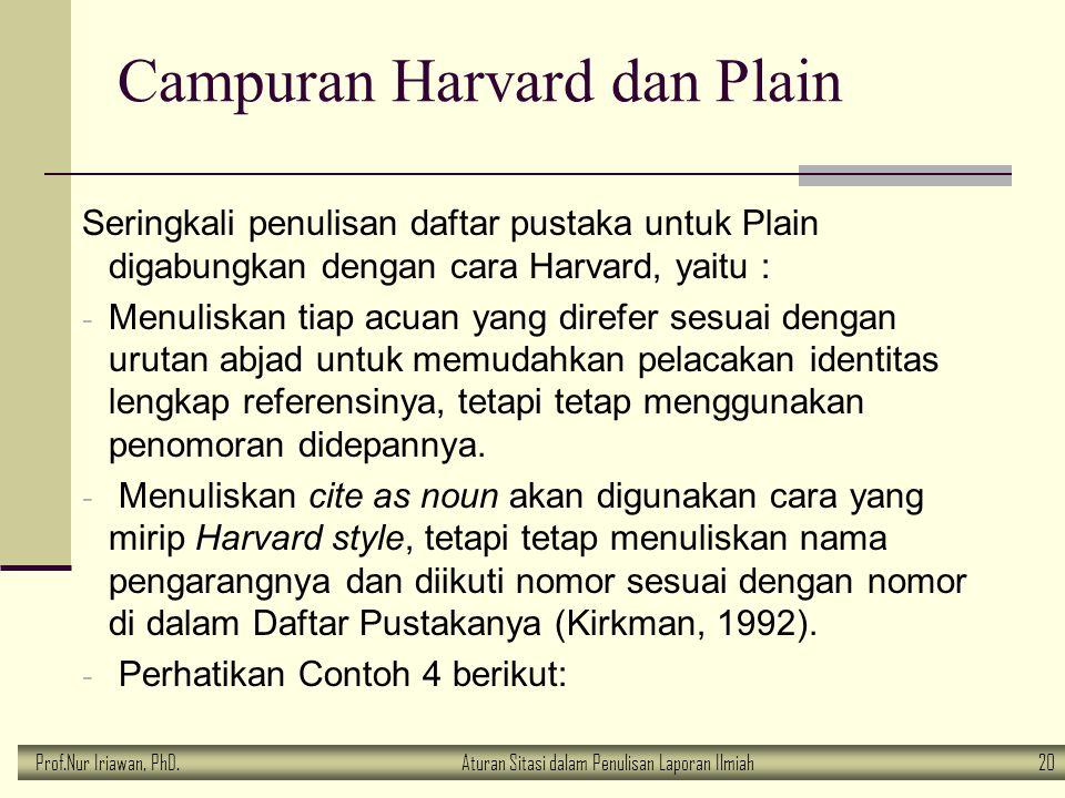 Prof.Nur Iriawan, PhD.Aturan Sitasi dalam Penulisan Laporan Ilmiah 20 Campuran Harvard dan Plain Seringkali penulisan daftar pustaka untuk Plain digab