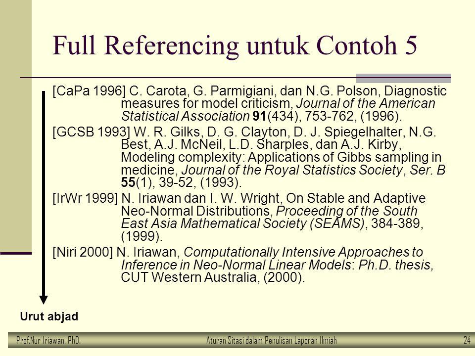 Prof.Nur Iriawan, PhD.Aturan Sitasi dalam Penulisan Laporan Ilmiah 24 Full Referencing untuk Contoh 5 [CaPa 1996] C. Carota, G. Parmigiani, dan N.G. P