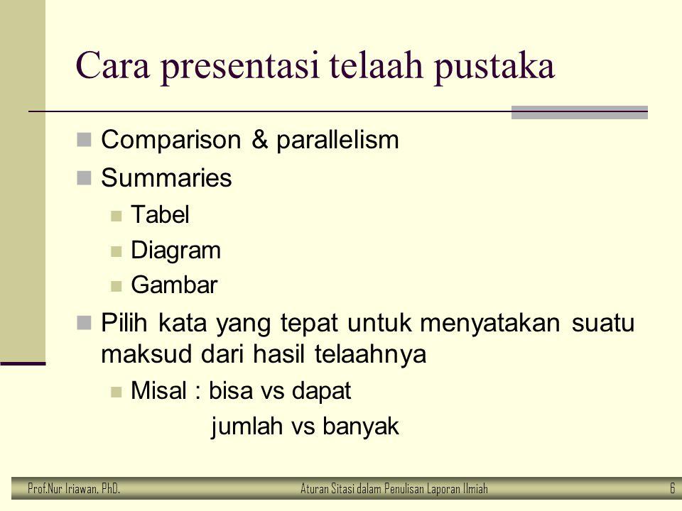 Prof.Nur Iriawan, PhD.Aturan Sitasi dalam Penulisan Laporan Ilmiah 6 Cara presentasi telaah pustaka Comparison & parallelism Summaries Tabel Diagram G