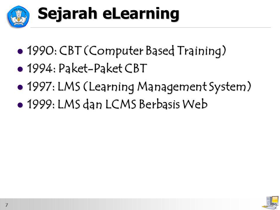 7 Sejarah eLearning 1990: CBT (Computer Based Training) 1990: CBT (Computer Based Training) 1994: Paket-Paket CBT 1994: Paket-Paket CBT 1997: LMS (Lea