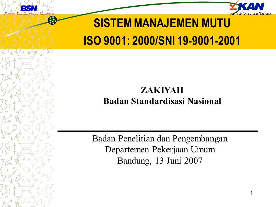 Badan Standardisasi Nasional Komite Akreditasi Nasional 1 SISTEM MANAJEMEN MUTU ISO 9001: 2000/SNI 19-9001-2001 ZAKIYAH Badan Standardisasi Nasional B