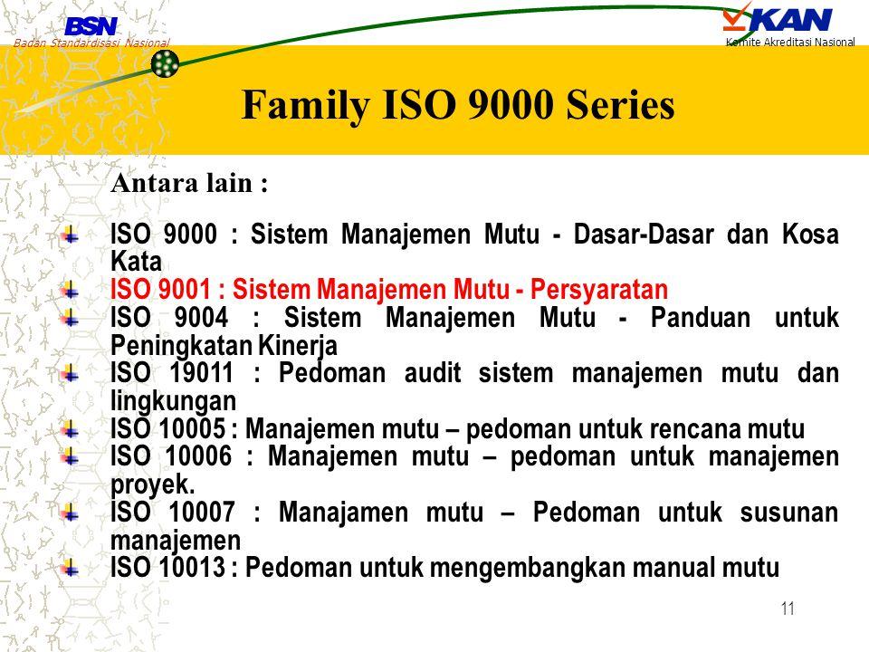 Badan Standardisasi Nasional Komite Akreditasi Nasional 11 ISO 9000 : Sistem Manajemen Mutu - Dasar-Dasar dan Kosa Kata ISO 9001 : Sistem Manajemen Mu