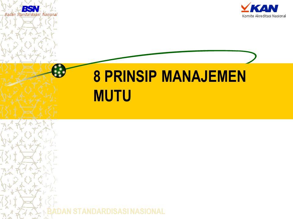Badan Standardisasi Nasional Komite Akreditasi Nasional 8 PRINSIP MANAJEMEN MUTU BADAN STANDARDISASI NASIONAL