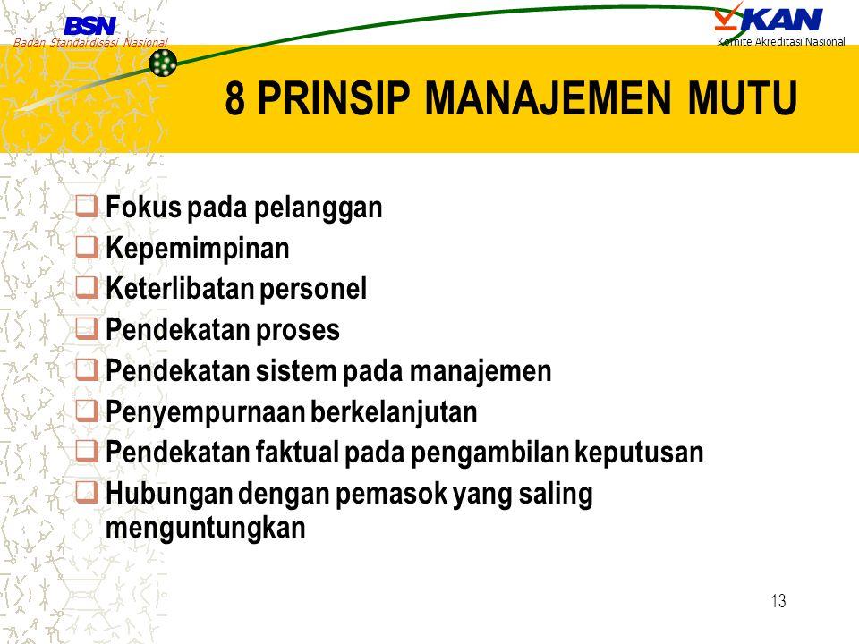 Badan Standardisasi Nasional Komite Akreditasi Nasional 13 8 PRINSIP MANAJEMEN MUTU  Fokus pada pelanggan  Kepemimpinan  Keterlibatan personel  Pe
