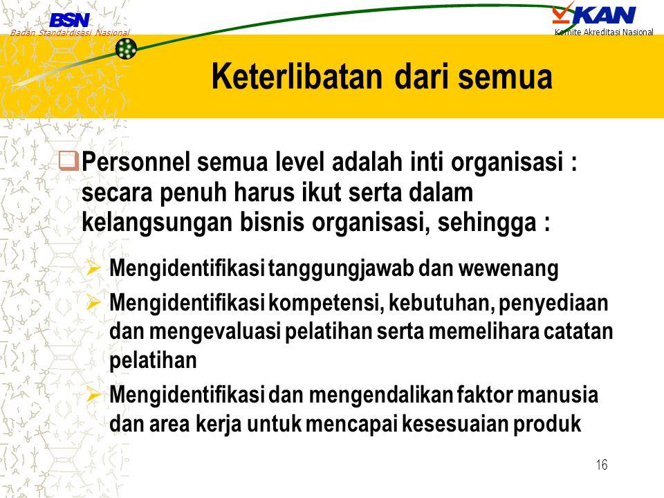 Badan Standardisasi Nasional Komite Akreditasi Nasional 16 Keterlibatan dari semua  Personnel semua level adalah inti organisasi : secara penuh harus