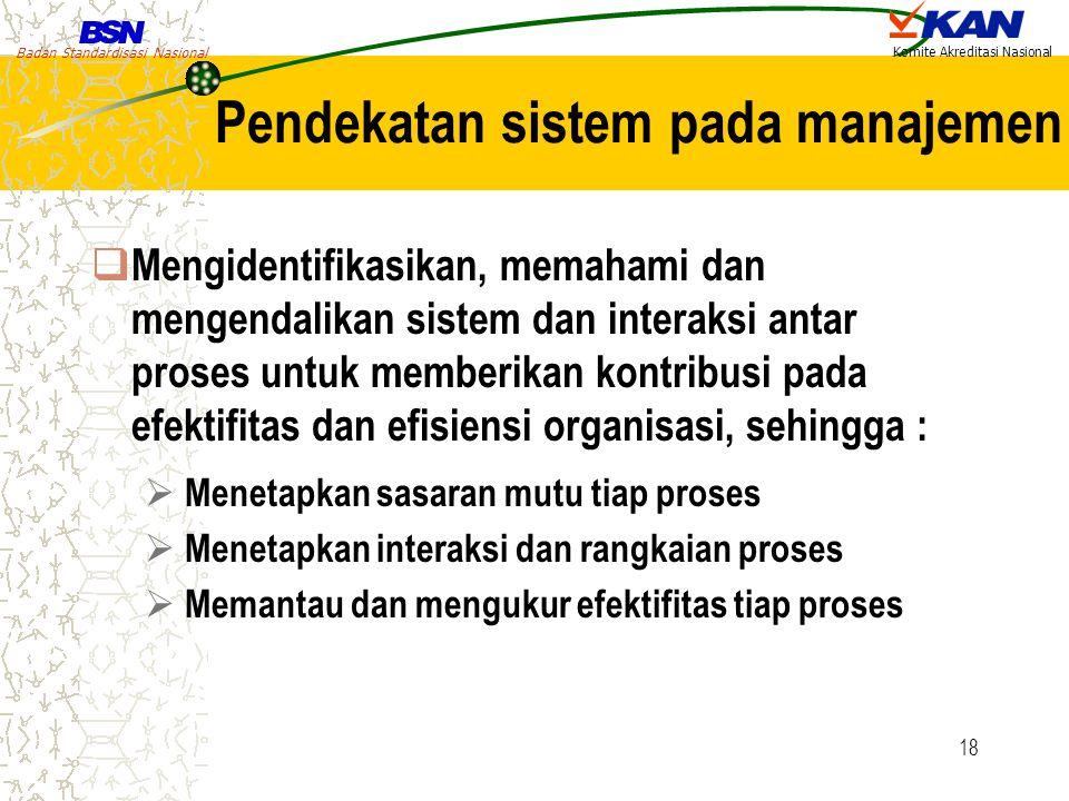 Badan Standardisasi Nasional Komite Akreditasi Nasional 18 Pendekatan sistem pada manajemen  Mengidentifikasikan, memahami dan mengendalikan sistem d