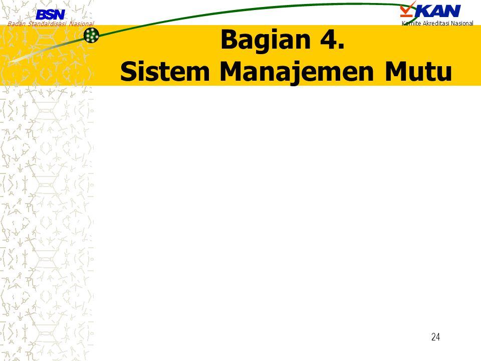 Badan Standardisasi Nasional Komite Akreditasi Nasional 24 Bagian 4. Sistem Manajemen Mutu