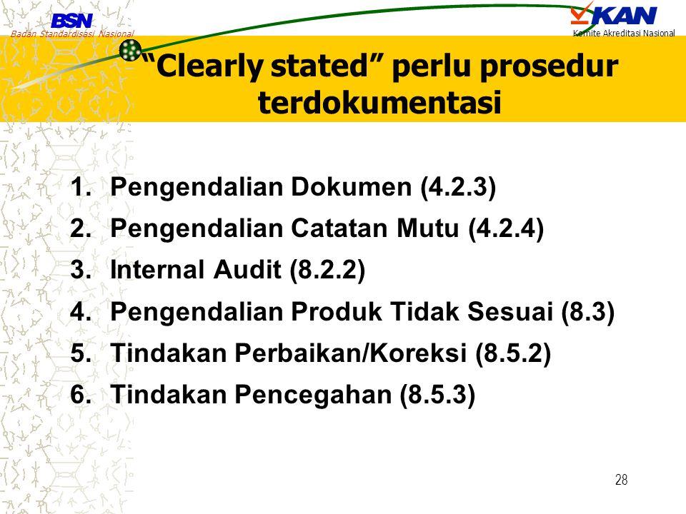 "Badan Standardisasi Nasional Komite Akreditasi Nasional 28 ""Clearly stated"" perlu prosedur terdokumentasi 1.Pengendalian Dokumen (4.2.3) 2.Pengendalia"