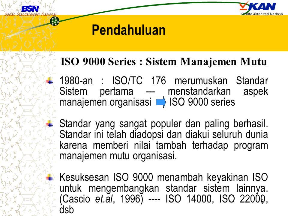 Badan Standardisasi Nasional Komite Akreditasi Nasional 3 1980-an : ISO/TC 176 merumuskan Standar Sistem pertama --- menstandarkan aspek manajemen org
