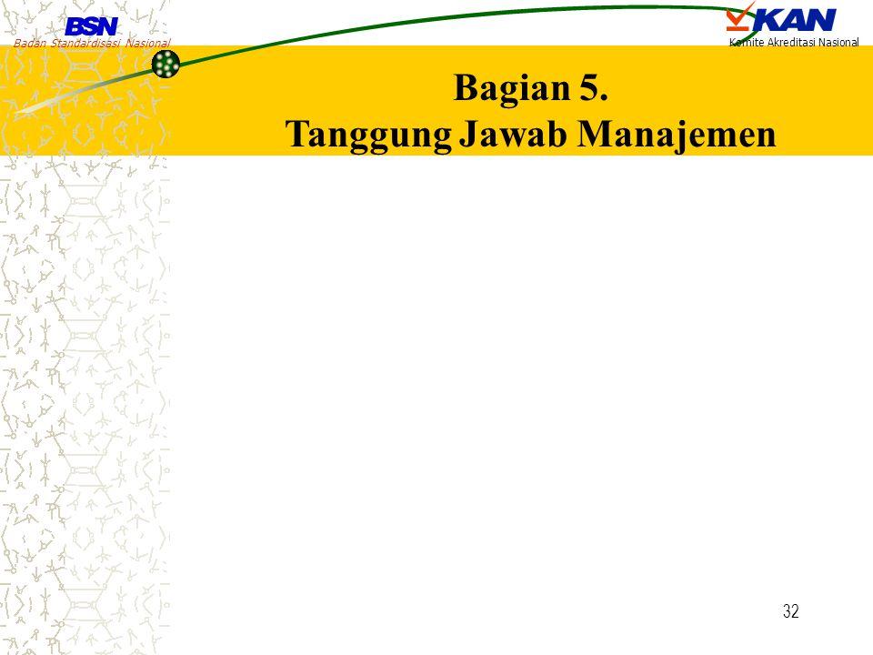 Badan Standardisasi Nasional Komite Akreditasi Nasional 32 Bagian 5. Tanggung Jawab Manajemen