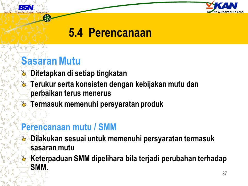 Badan Standardisasi Nasional Komite Akreditasi Nasional 37 5.4 Perencanaan Sasaran Mutu Ditetapkan di setiap tingkatan Terukur serta konsisten dengan