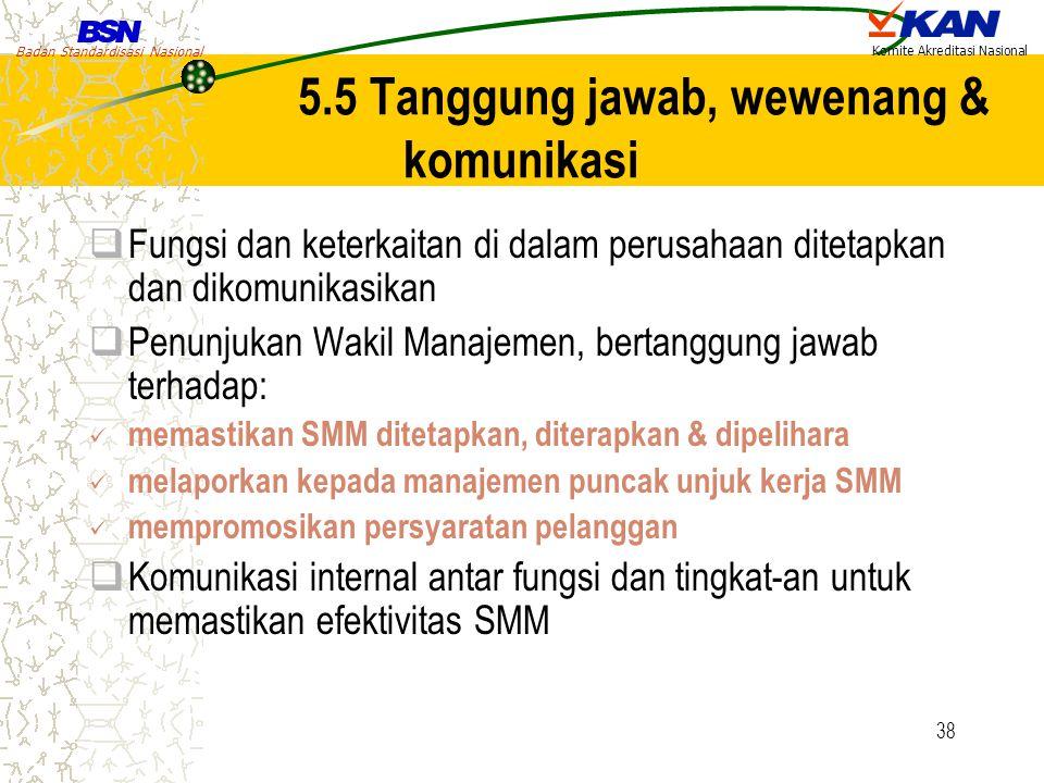 Badan Standardisasi Nasional Komite Akreditasi Nasional 38 5.5 Tanggung jawab, wewenang & komunikasi  Fungsi dan keterkaitan di dalam perusahaan dite