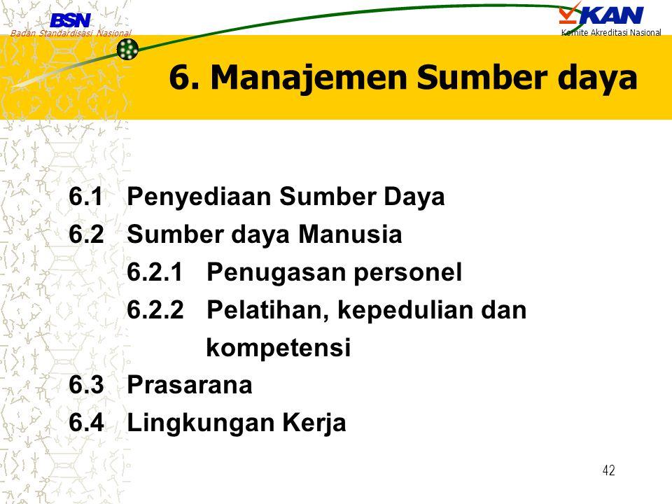 Badan Standardisasi Nasional Komite Akreditasi Nasional 42 6. Manajemen Sumber daya 6.1 Penyediaan Sumber Daya 6.2 Sumber daya Manusia 6.2.1 Penugasan