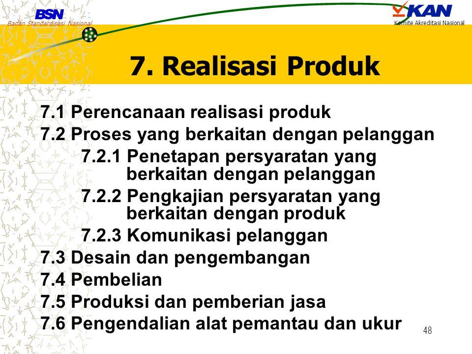 Badan Standardisasi Nasional Komite Akreditasi Nasional 48 7. Realisasi Produk 7.1 Perencanaan realisasi produk 7.2 Proses yang berkaitan dengan pelan
