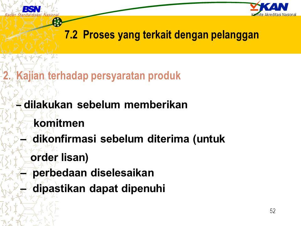 Badan Standardisasi Nasional Komite Akreditasi Nasional 52 2. Kajian terhadap persyaratan produk – dilakukan sebelum memberikan komitmen – dikonfirmas