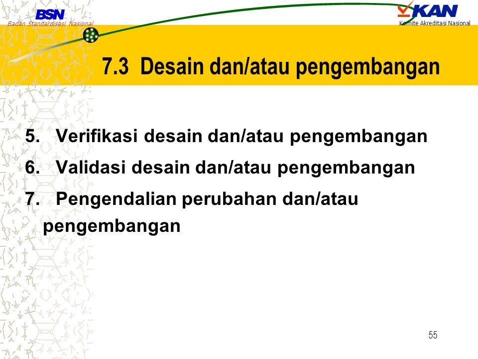 Badan Standardisasi Nasional Komite Akreditasi Nasional 55 5. Verifikasi desain dan/atau pengembangan 6. Validasi desain dan/atau pengembangan 7. Peng