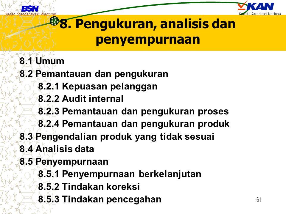Badan Standardisasi Nasional Komite Akreditasi Nasional 61 8. Pengukuran, analisis dan penyempurnaan 8.1 Umum 8.2 Pemantauan dan pengukuran 8.2.1 Kepu