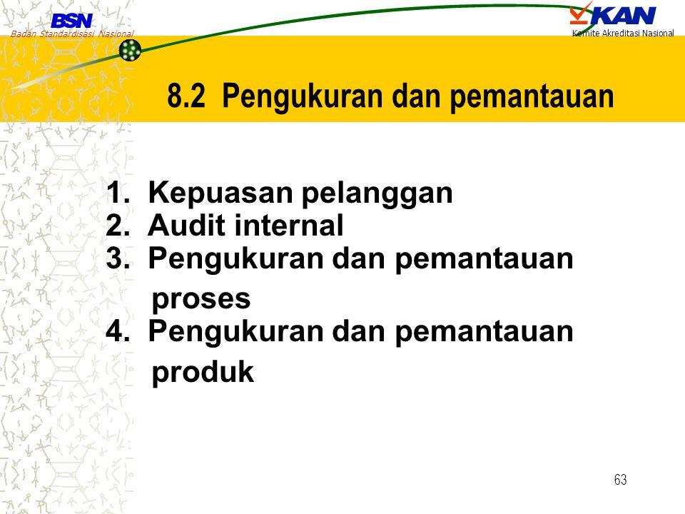 Badan Standardisasi Nasional Komite Akreditasi Nasional 63 8.2 Pengukuran dan pemantauan 1. Kepuasan pelanggan 2. Audit internal 3. Pengukuran dan pem
