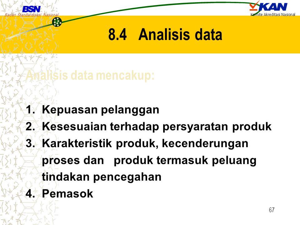 Badan Standardisasi Nasional Komite Akreditasi Nasional 67 8.4 Analisis data Analisis data mencakup: 1. Kepuasan pelanggan 2. Kesesuaian terhadap pers
